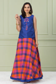 Dream-catcher Printed Top & Multicolored Checked Skirt Set - Royal Blue & Multi - Maybell Womens Fashion