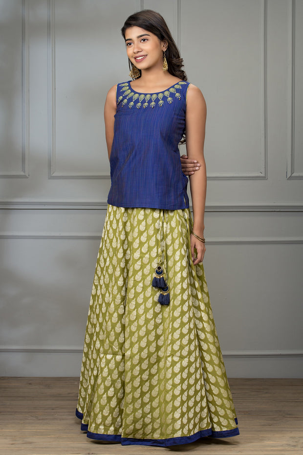 Ethnic Embroidered Top & Brocade Skirt Set - Navy & Green - Maybell Womens Fashion