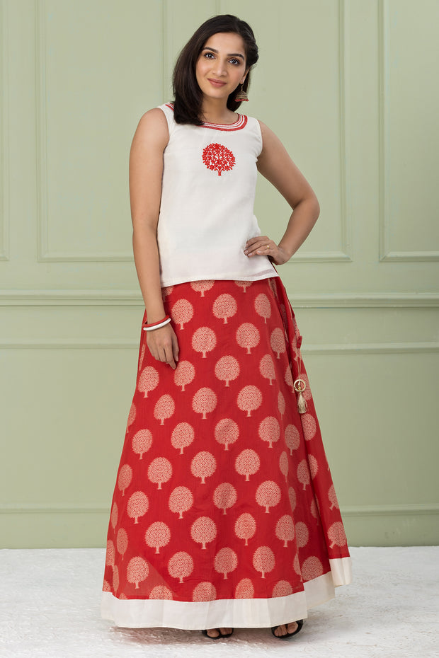 Embroidered Chanderi Skirtset - White & Red - Maybell Womens Fashion