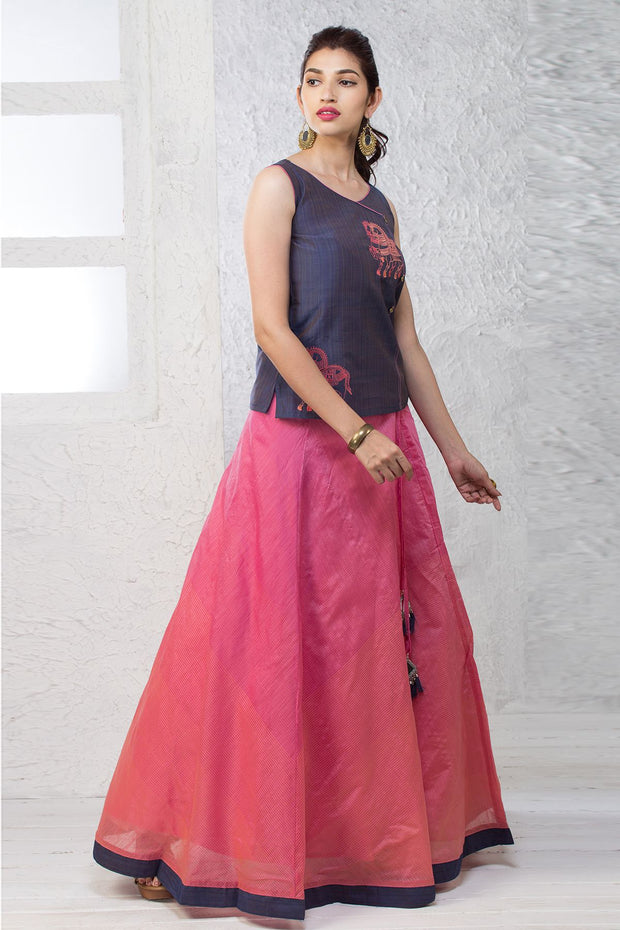Elegant Skirt Set - Peach - Maybell Womens Fashion