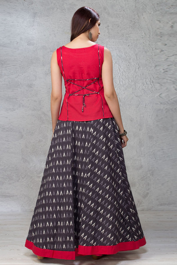 Placement Floral Embroidered Top & Ikkat Pattern Skirt Set - Red & Black - Maybell Womens Fashion