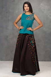 Placement Floral Embroidered Top & Floral Printed Skirt Set - Teal & Brown - Maybell Womens Fashion
