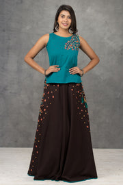 Floral Embroidered Top & Printed Skirt Set - Maybell Womens Fashion