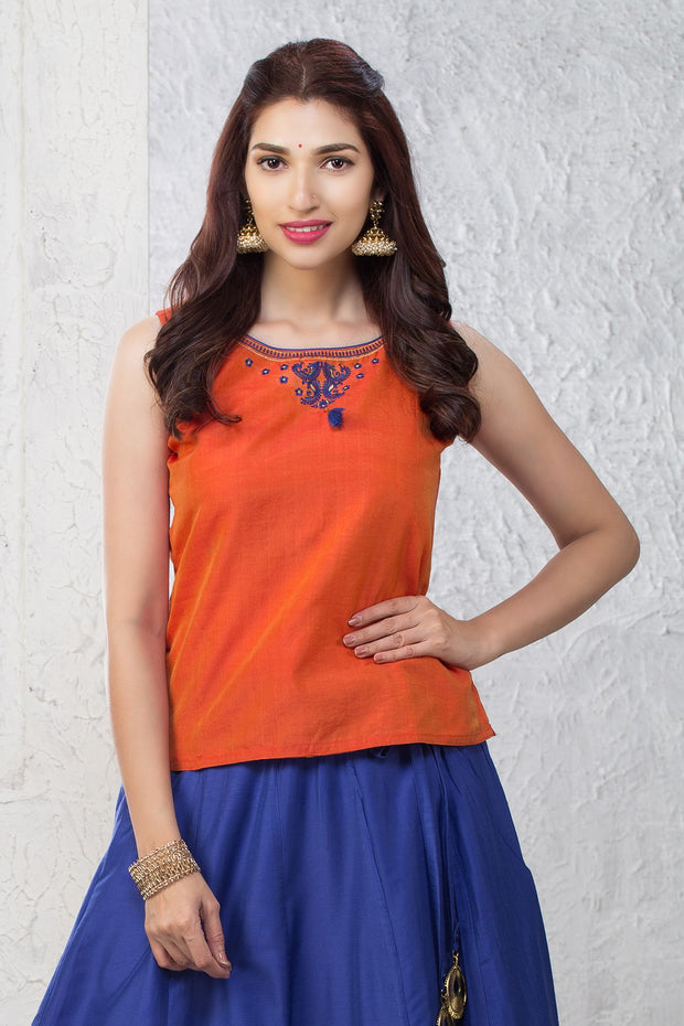 Minimal Embroidered Top & Peacock Motif Printed Skirt Set - Orange & Navy - Maybell Womens Fashion