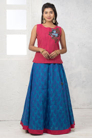 Krishna Mural Embroidered Top & Brocade Skirt - Maybell Womens Fashion