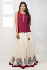 Art Decor Embroidered Top & Circular Skirt - Maybell Womens Fashion