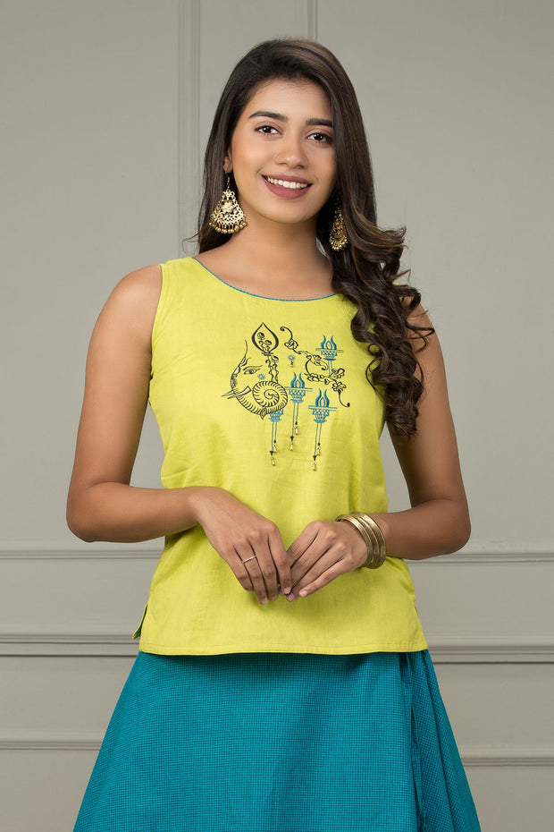 Abstract Elephant Embroidered Top & Micro Checked Skirt Set - Lime Green & Blue - Maybell Womens Fashion