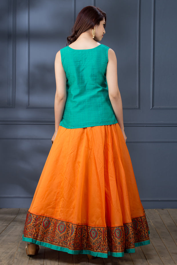 Embroidered Top & Printed Circular Skirt - Green & Orange - Maybell Womens Fashion