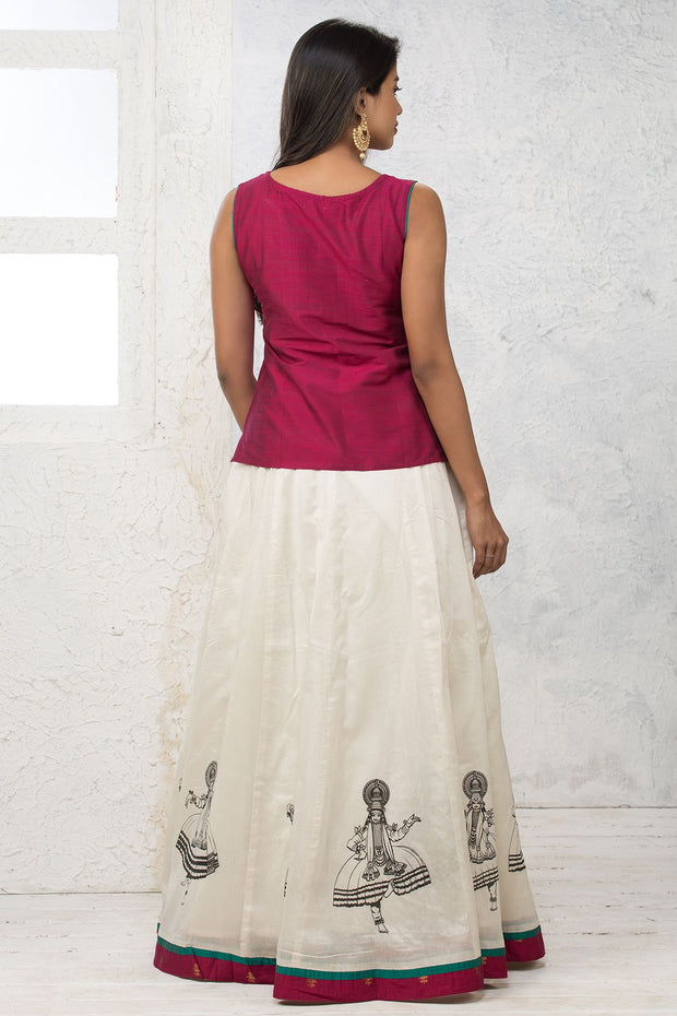 Solid Embroidered Top & Printed Panelled Skirt - Maybell Womens Fashion