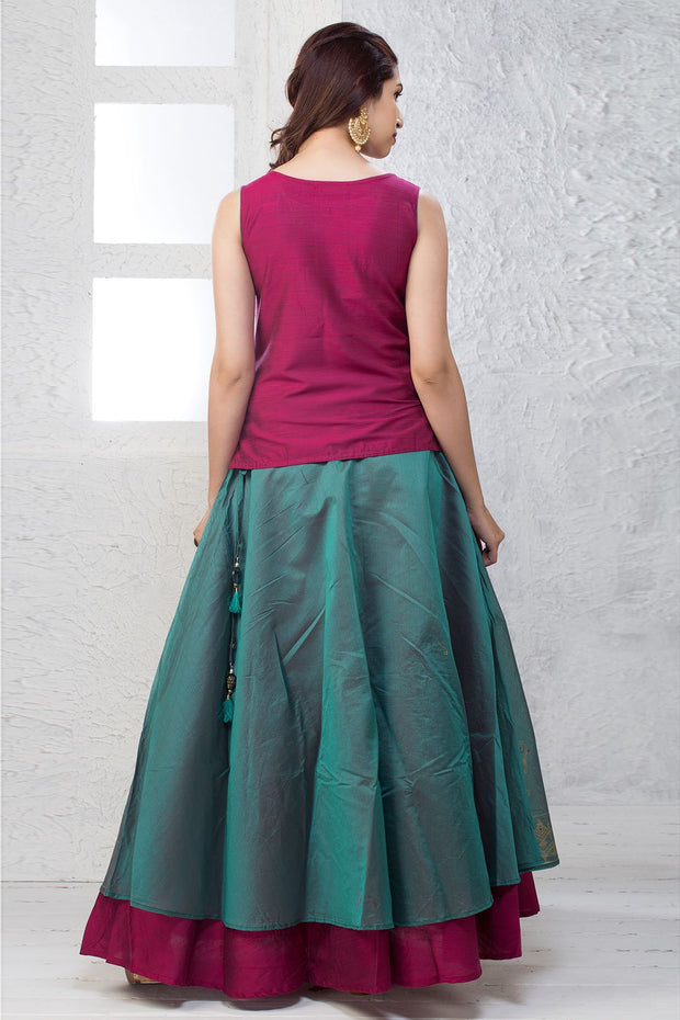 Minimal Detail Top & Layered Skirt Set - Magenta & Green - Maybell Womens Fashion