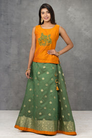 Solid Embroidered Top & Brocade Skirt - Maybell Womens Fashion