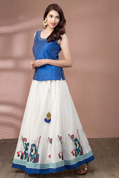 Solid Embroidered Top & Printed Panelled Skirt - Blue & White - Maybell Womens Fashion