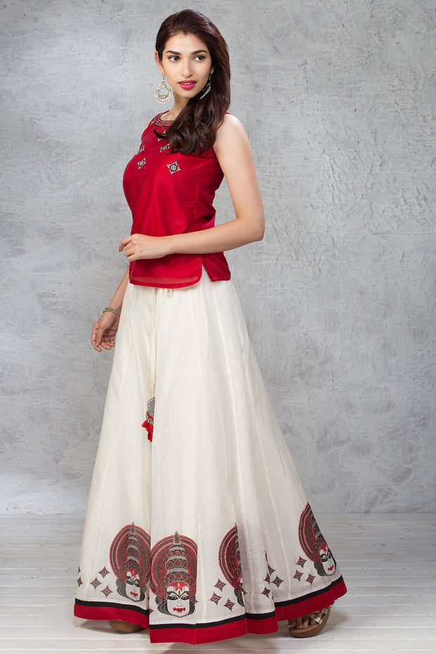 Kathakali Printed Skirt & Embroidered Top Set - Red & White