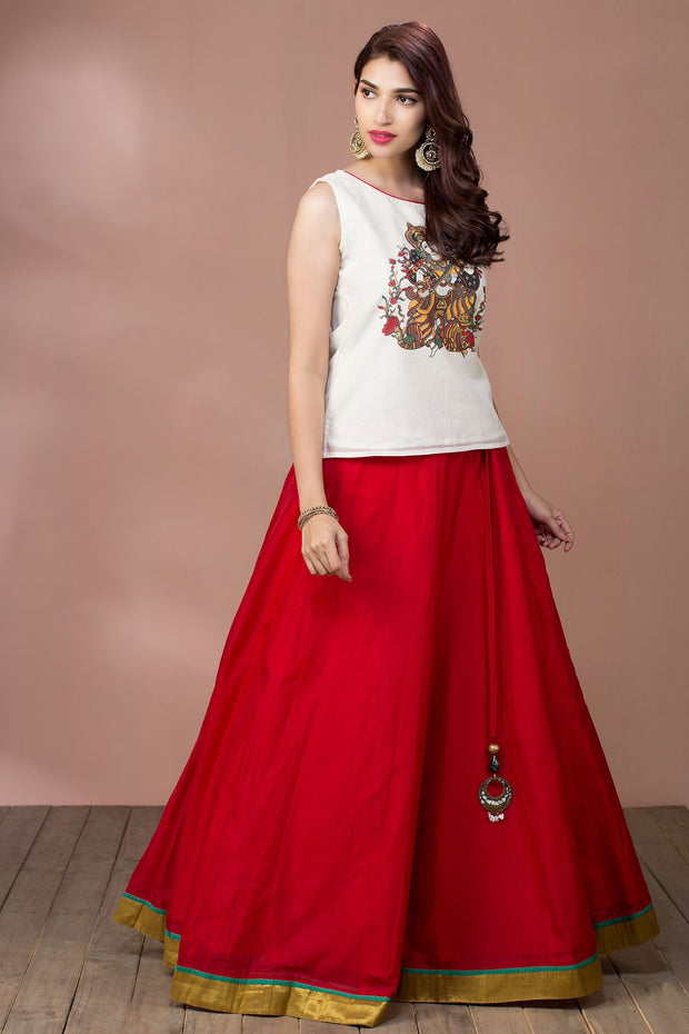 Saraswathi Printed Top & Circular Skirt - Off white & Red - Maybell Womens Fashion