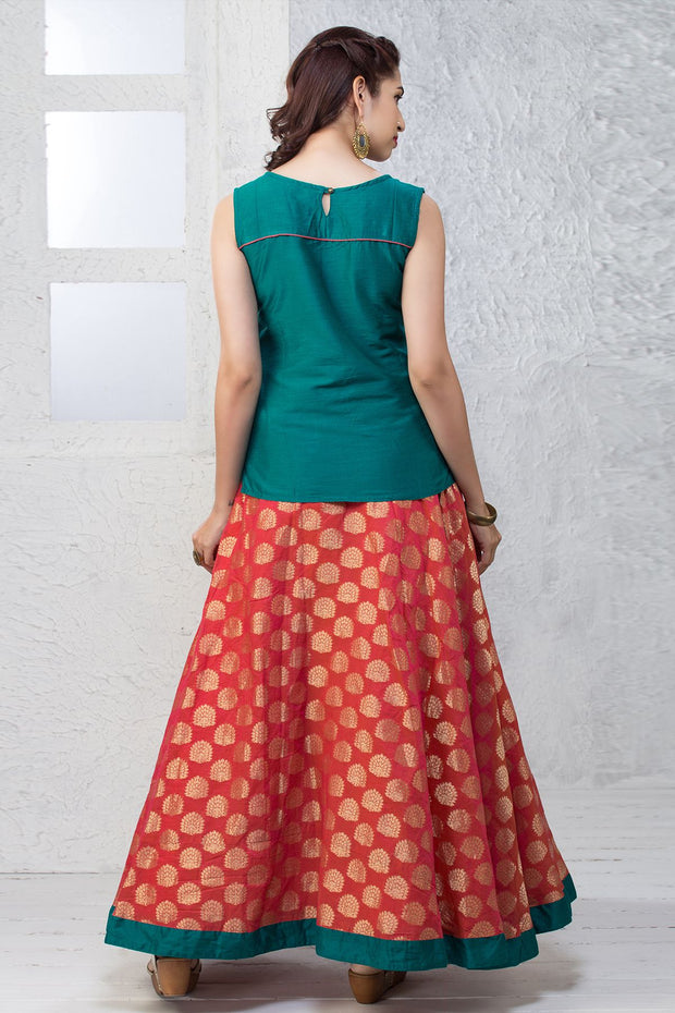 Placement Embroidered Top & Tree Printed Skirt - Maybell Womens Fashion