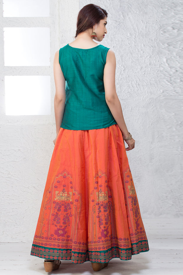 Skirt Set - Green & Peach - Maybell Womens Fashion