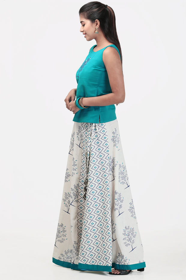 Skirt With Blue Top Paneled - Rama Green & White - Maybell Womens Fashion