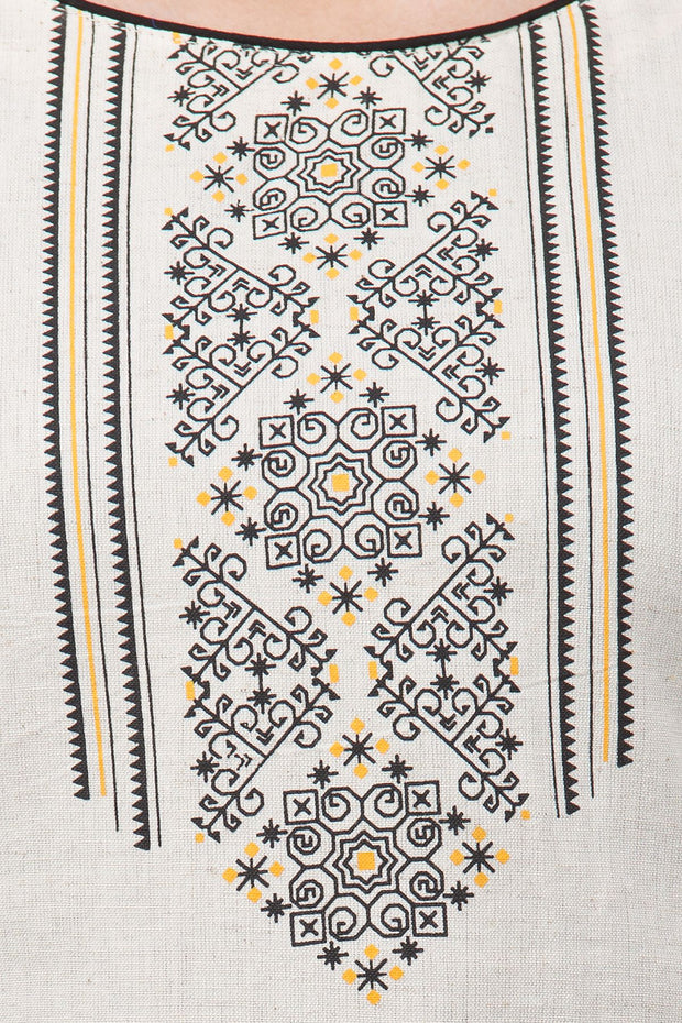 Minimal Ethnic Motif Printed Tunic – Off–White, Yellow - Maybell Womens Fashion
