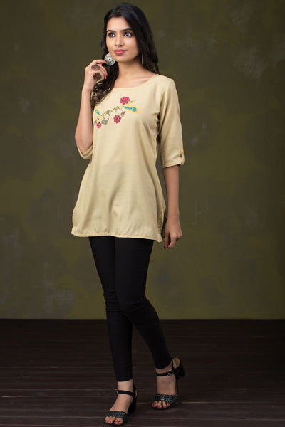 Abstract Flute & Floral Fusion Printed Tunic – Beige - Maybell Womens Fashion