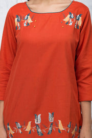 Abstract Bird Printed Tunic – Rust Orange - Maybell Womens Fashion