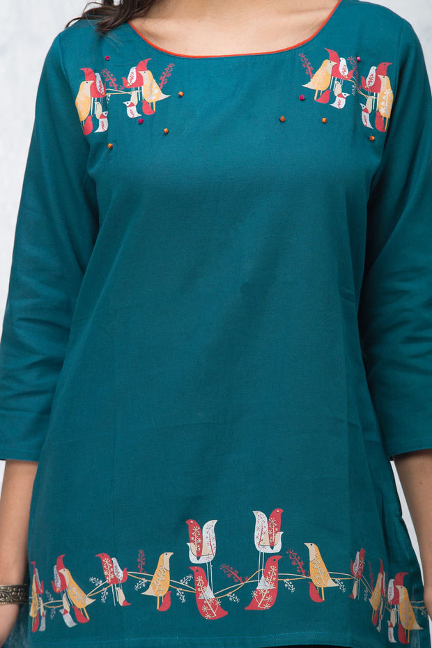 Abstract Bird Printed Tunic – Teal - Maybell Womens Fashion
