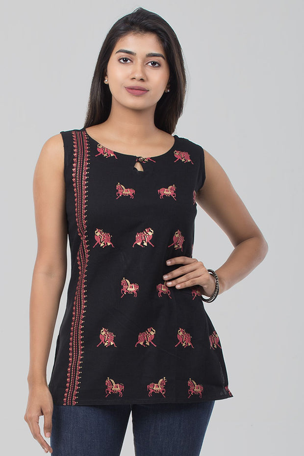 Black Cotton Flex Sleeveless Tunic - Maybell Womens Fashion