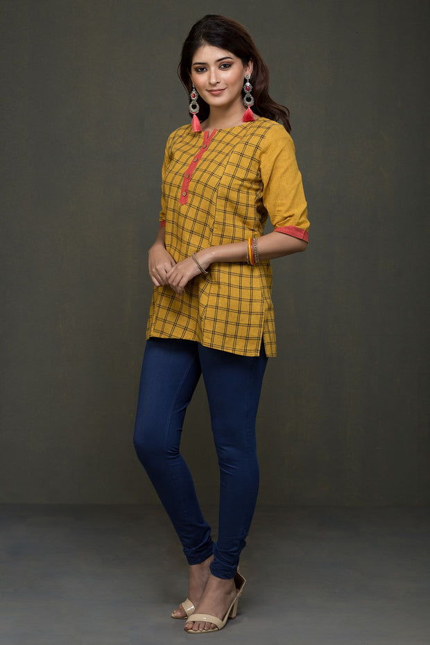 Minimal Self Checked Tunics – Mustard Yellow - Maybell Womens Fashion