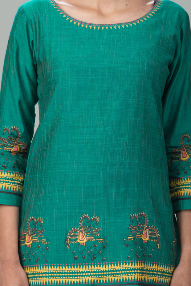 Ethnic Horse Motif Printed Tunic – Green - Maybell Womens Fashion