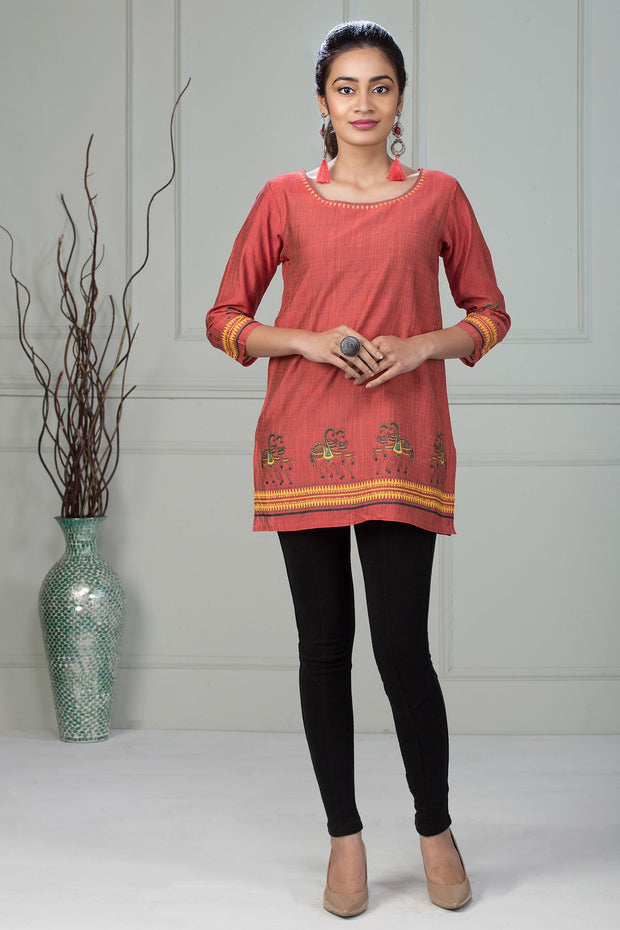 Ethnic Horse Motif Printed Tunic – Pink - Maybell Womens Fashion