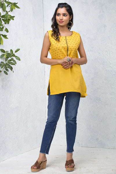 Micro Motif Printed Tunic – Yellow - Maybell Womens Fashion