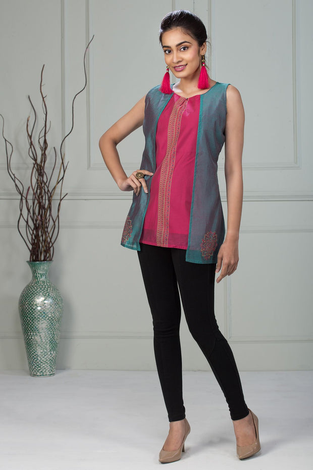 Overlay Ethnic Dot Motif Printed Tunic – Pink & Green - Maybell Womens Fashion