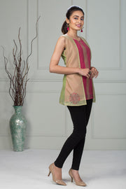 Overlay Ethnic Dot Motif Printed Tunic – Pink & Light Green - Maybell Womens Fashion