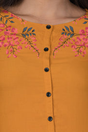 Placement Floral Printed Tunic - Yellow