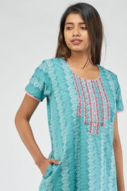 All over printed nighty - Blue
