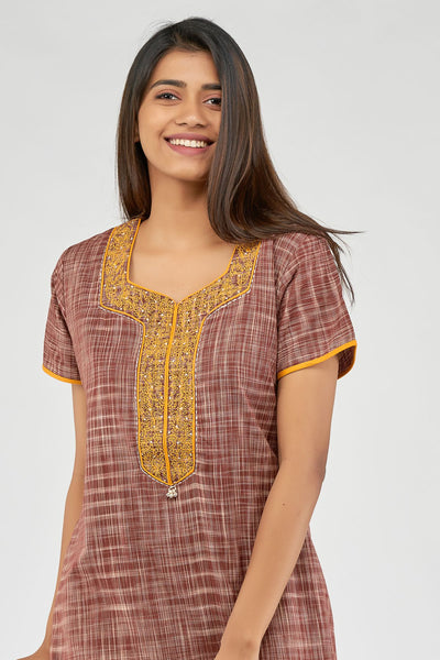 All over khadi woven nighty - Brown