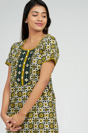 Maybell-Ajrak Inspired Printed Nighty -Yellow