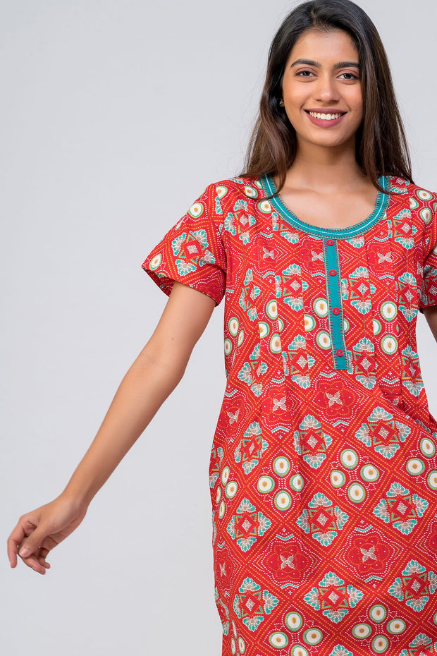 Maybell-Bandhni printed nighty - Red2