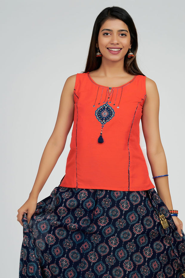 Ornamental printed skirt set- Orange & Navy