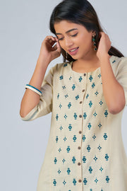 Maybell-Floral embroidered kurta - Beige1