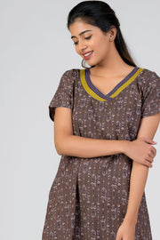 Maybell-Aztec printed nighty - Grey