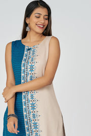 Aztec Print Kurta With Cotton Jaquard - Beige & Blue