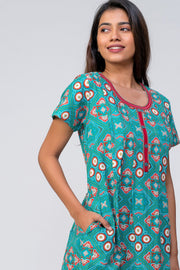 Maybell-Bandhni printed nighty - Blue4
