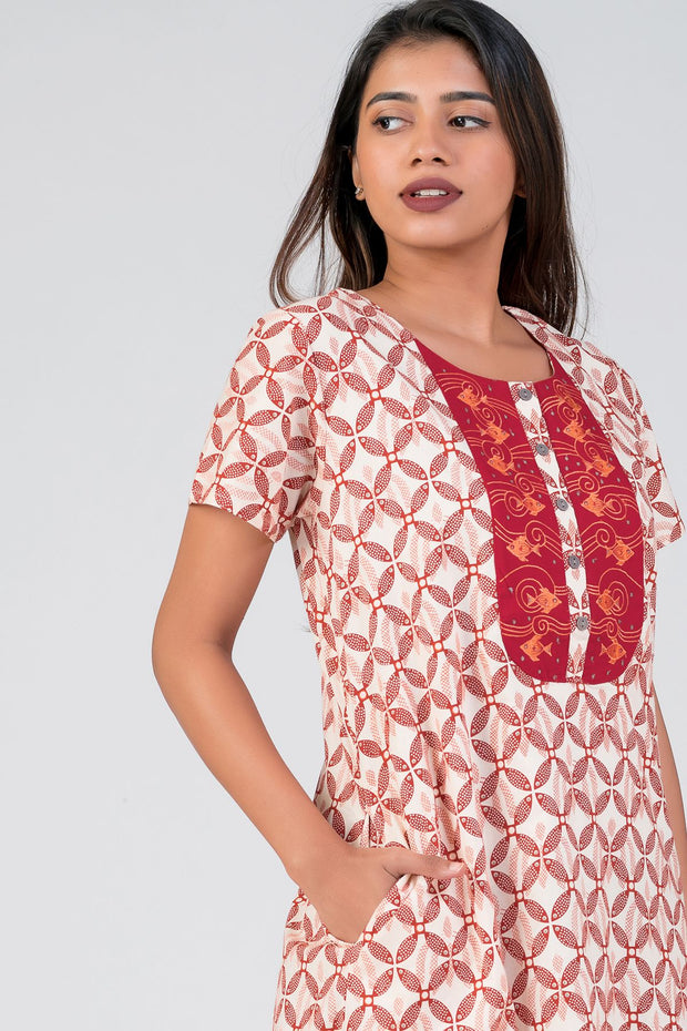 Maybell-Madhubani pattern printed nighty - Red