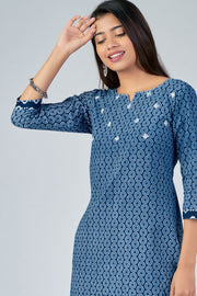 Maybell-All Over printed kurta with mirror embroidery -Indigo