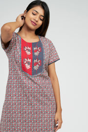 Maybell-Ditsy line printed nighty - Red