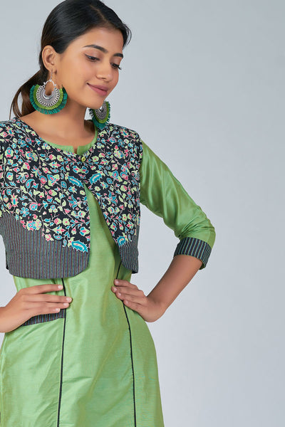 Maybell-Floral printed kurta with coat -Green and black