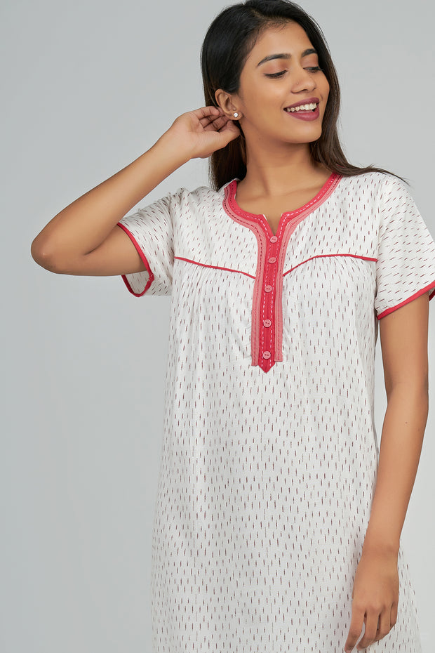 Maybell-Geometric printed nighty - Red1