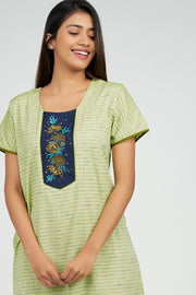 Maybell-Pin Striped Nighty - Green1
