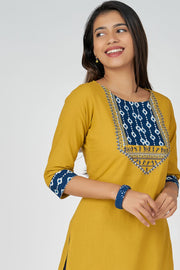WARLI EMBROIDERY KURTA - Yellow