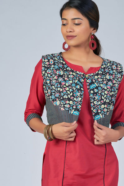 Maybell-Floral printed kurta with coat - Pink and black